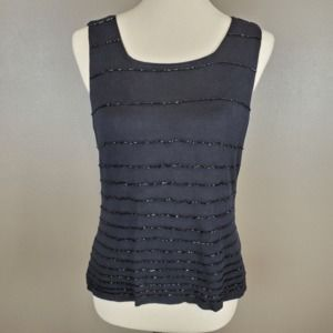 Ann Taylor 100% Silk Beaded Sweater Tank Size M